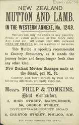 Advert for Philip & Thomkins, meat contractors